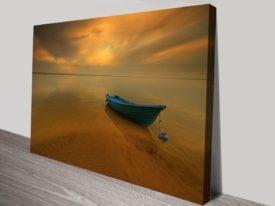 blue boat canvas print art