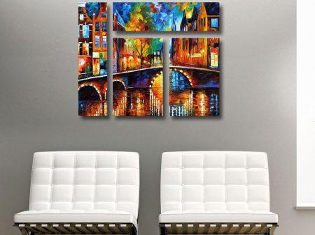 Bridges of Amsterdam Mixed 4 Panel Canvas Print