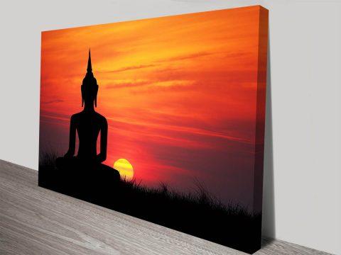 Buddha Statue at Sunset Spiritual Calming Meditation Framed Art Print
