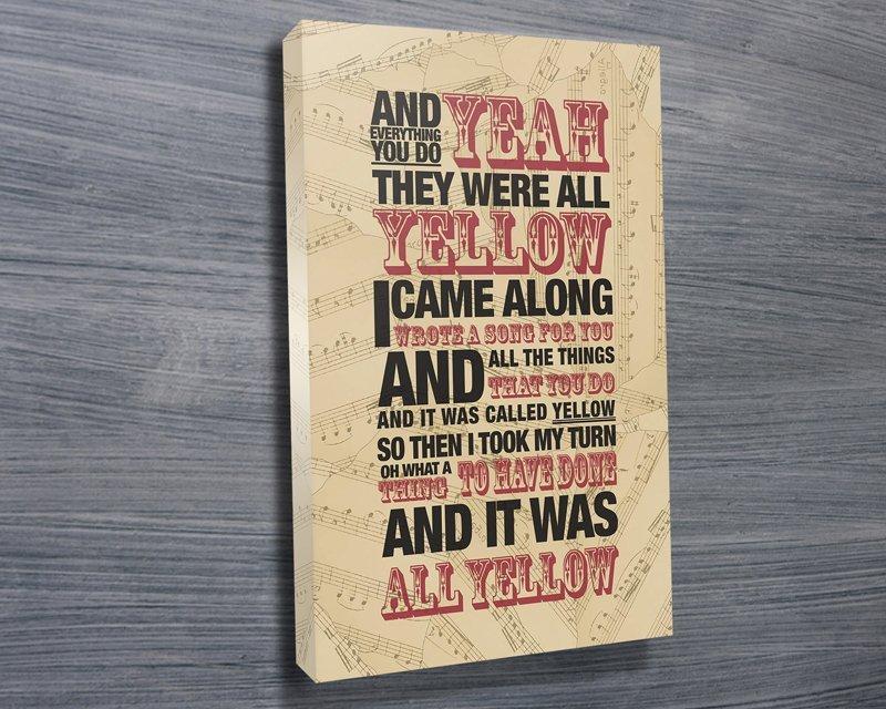 Coldplay Yellow Lyrics Canvas Wall Art