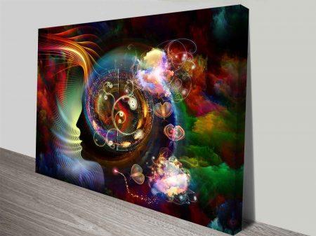 Cosmic Butterflies Digital Collage Modern Ready to Hang Canvas Wall Art