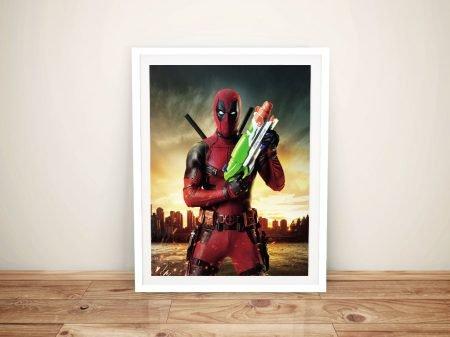 Deadpool With Water Pistol Canvas Wall Art