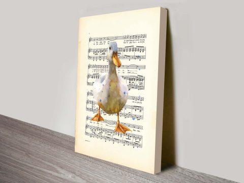 duck watercolour songsheet canvas print