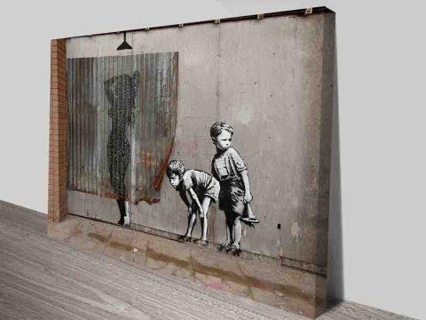 Banksy Peek-A-Boo Canvas Prints