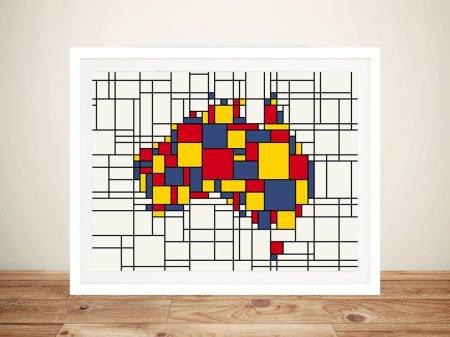 Mondrian Inspired Framed Wall Art of Australia Map