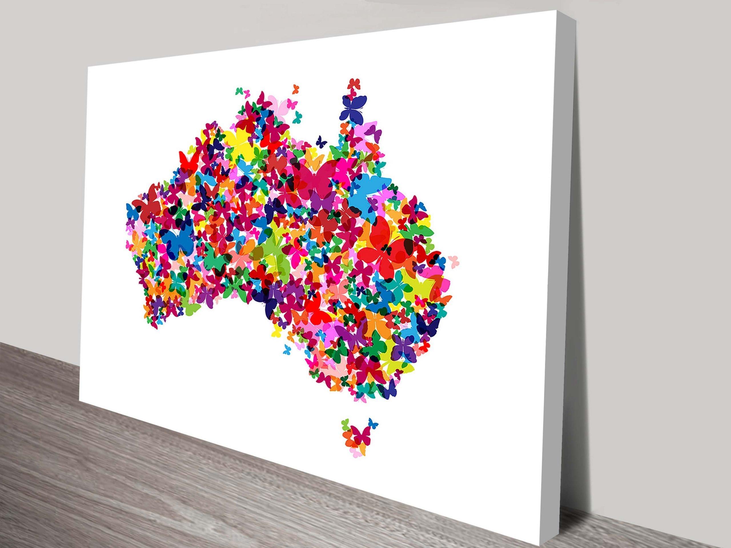Butterfly Map Art Print of Australia by Michael Tompsett