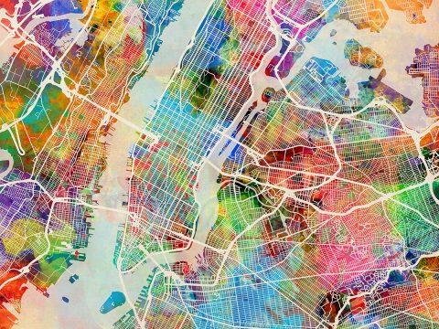 New York City Street Map Canvas Art by Michael Tompsett