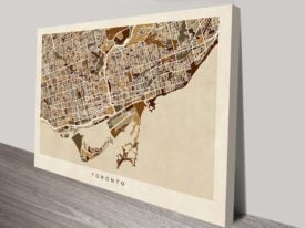 Toronto Street Map Canvas Art Print by Michael Tompsett