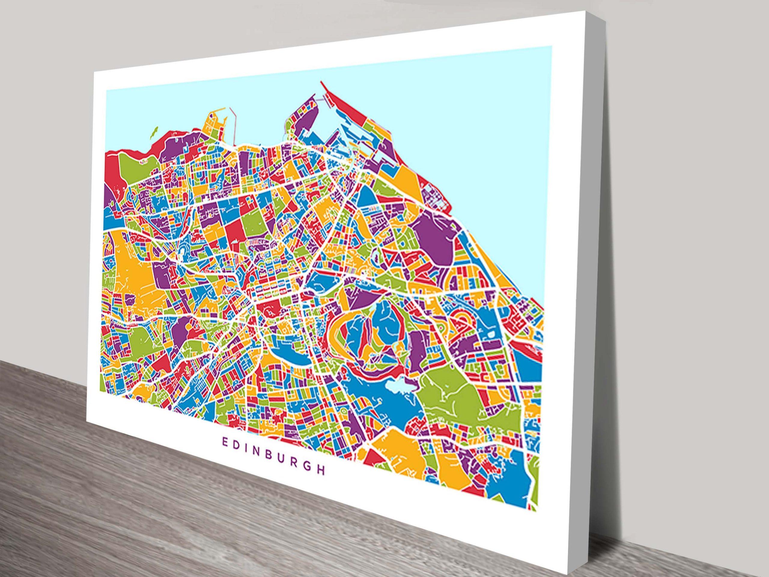 Edinburgh Street Map Michael Tompsett Canvas Print