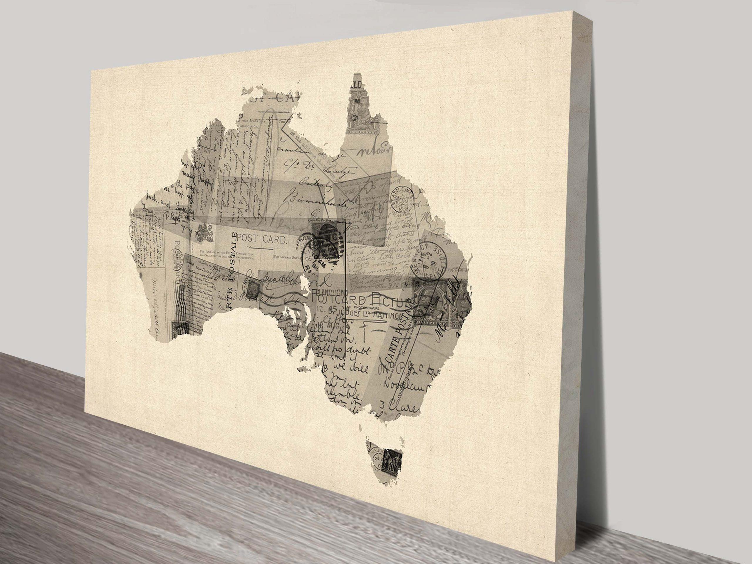 Old Postcard Map of Australia Map Michael Tompsett