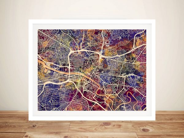 Glasgow Street Map Framed Picture Art