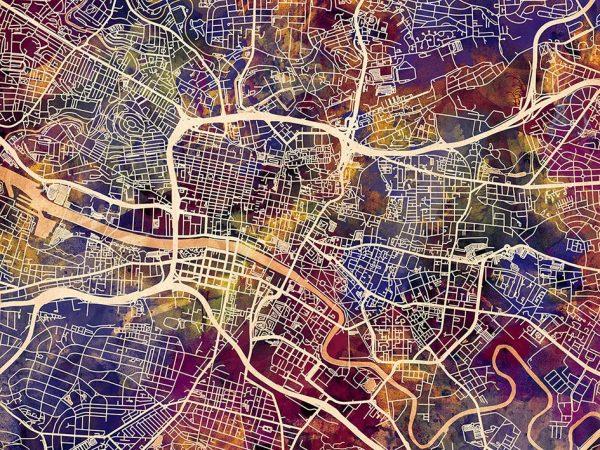 Glasgow Street Map Wall Art