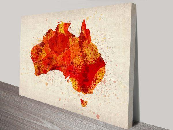 Red Watercolour paint Map Art Print