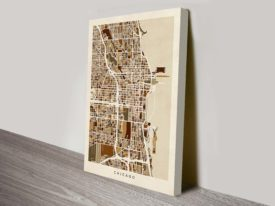 Chicago City Street Map Wall Art