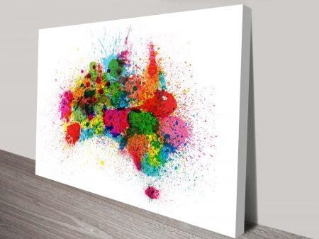Australia Paint Splashes Map Art Tompsett