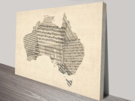 Vintage Sheet Music Print of Australia by Michael Tompsett