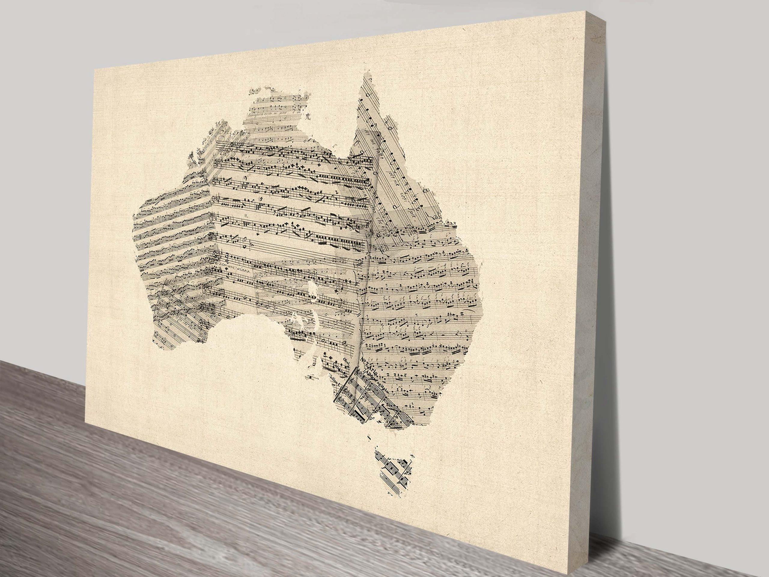 Vintage Sheet Music Print of Australia by Michael Tompsett