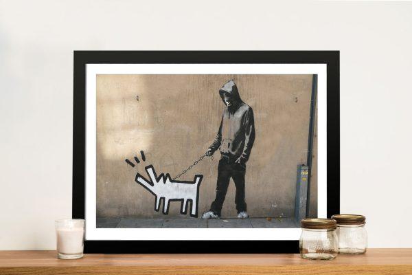 Banksy Keith haring dog walker Framed Wall Art