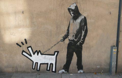 Buy Banksy Dog Walker Keith Haring Dog Art Wall Print