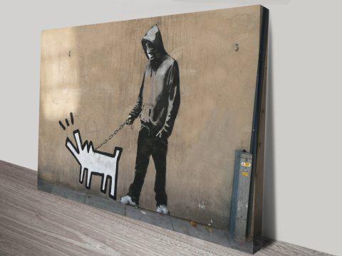 Banksy Dog Walker Keith Haring Dog Art Wall Print