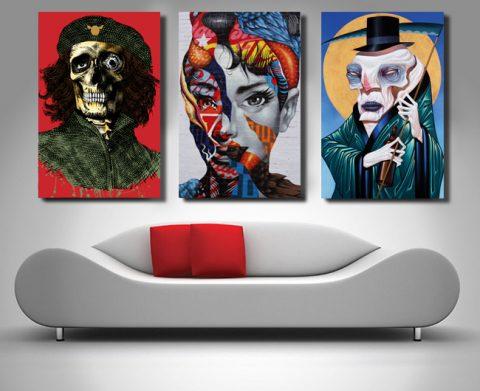 graffiti triptych canvas print