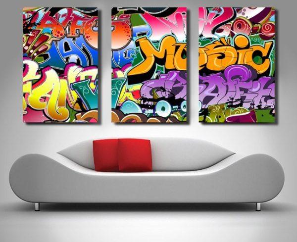 graffiti triptych wall art