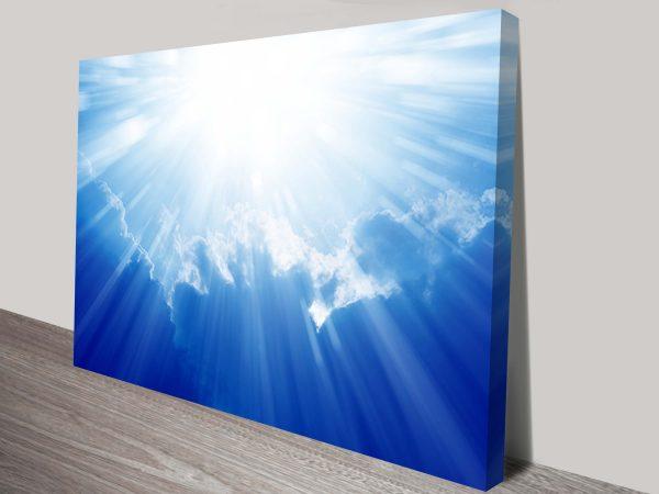 majestic shining sun in heaven wall art canvas print australia