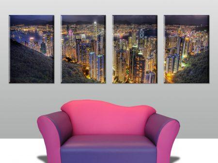 hong kong 4 panel big canvas print.