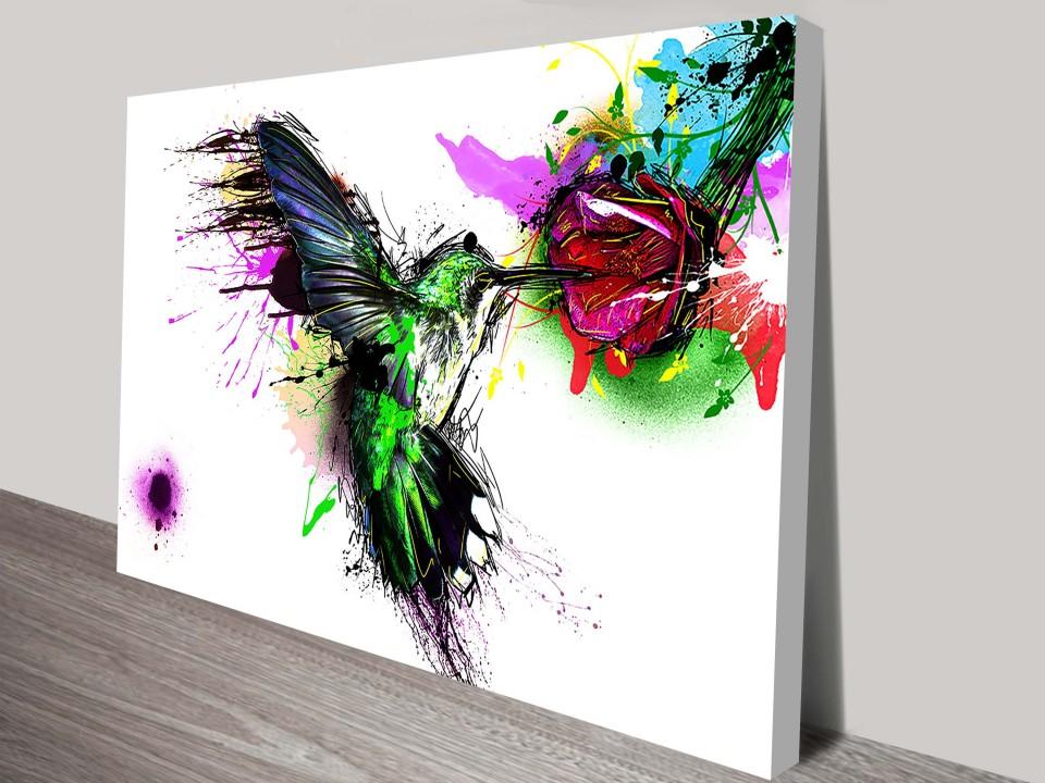 hummingbird abstract canvas print