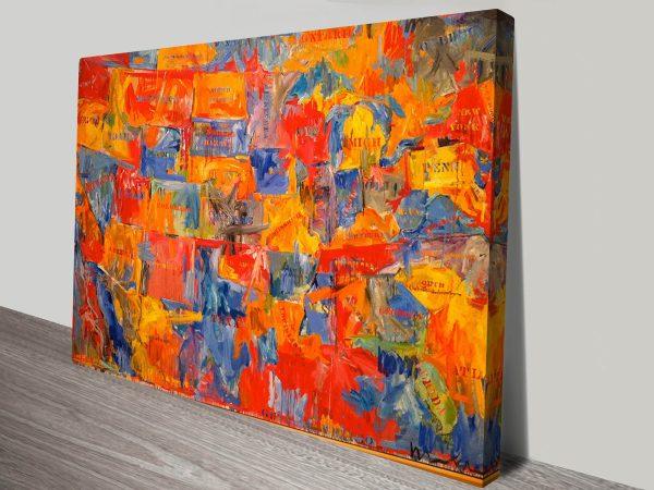 Buy Jasper Johns USA Map Abstract Art AU