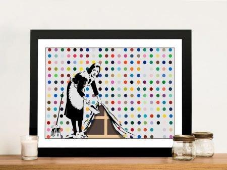 Keeping it Spotless banksy print Framed Wall Art