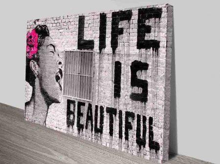 Life is Beautiful Banksy Canvas Wall Art