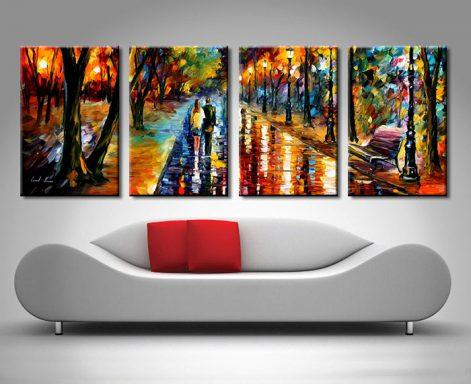 lovers evening walk 4 panel wall canvas