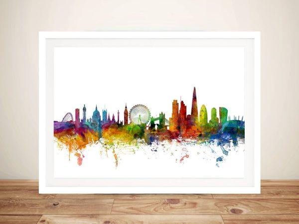 WatercolourLondon Skyline Wall Art byMichael Tompsett