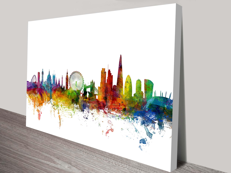 Watercolour London Skyline Wall Art By Michael Tompsett