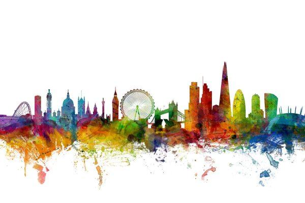 London England Skyline Watercolour Art Print