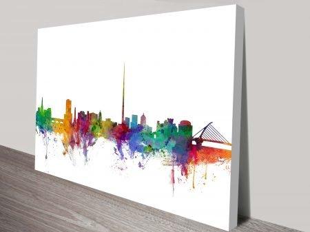 Buy Dublin Skyline Art by Michael Tompsett