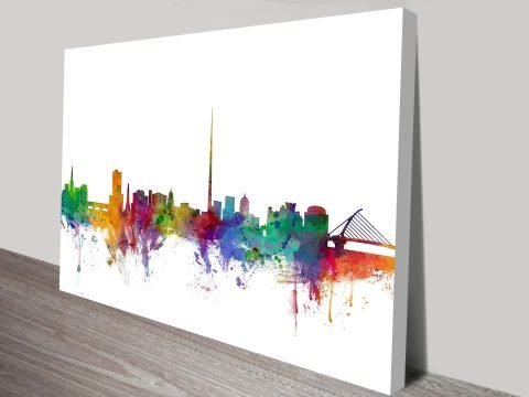 Dublin Ireland Skyline Art Print by Michael Tompsett