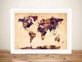 Purple & Red Watercolour World Map Michael Tompsett Art