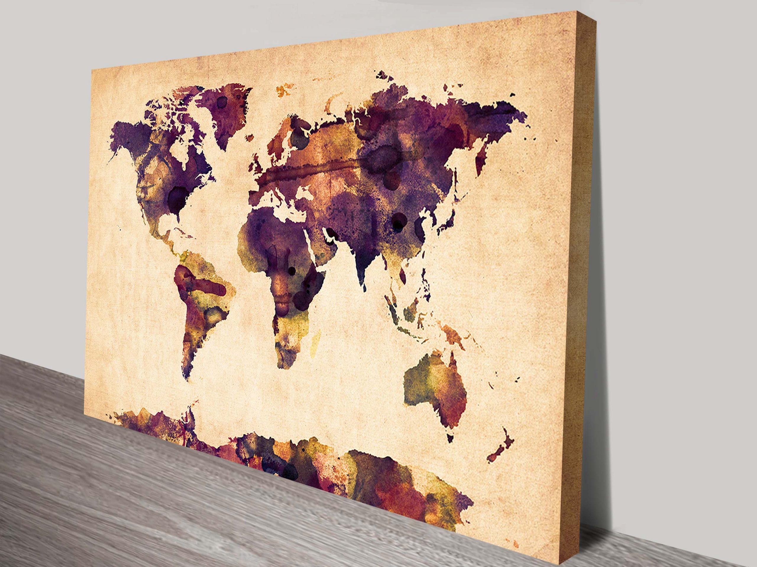 World Map Watercolor Wall canvas art Michael Tompsett