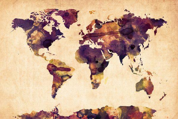 World Map Watercolor-Michael Tompsett Canvas Art Au