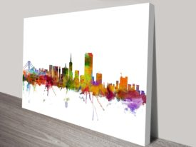 Artwork by Michael Tompsett Skyline collection Watercolour Print Skyline San Francisco, USA.