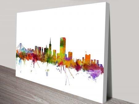Artwork by Michael Tompsett Skyline collection Watercolour Print Skyline San Francisco, USA.