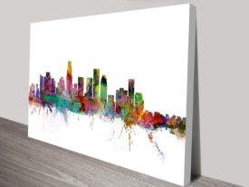 Los Angeles Watercolour Skyline Canvas Art Print by Michael Tompsett