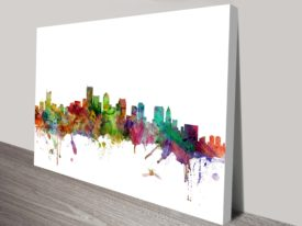 Boston City Skyline Watercolour by Michael Tompsett