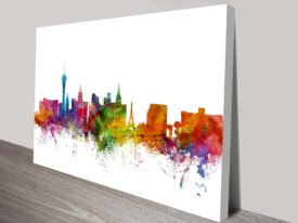 Las Vegas Watercolour Skyline by Michael Tompsett Ready to Hang Art