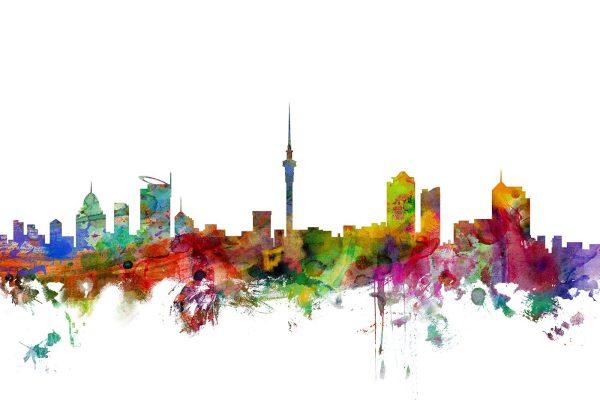 Auckland New Zealand Skyline Artwork