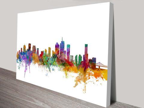 Brisbane Skyline Watercolour Canvas print