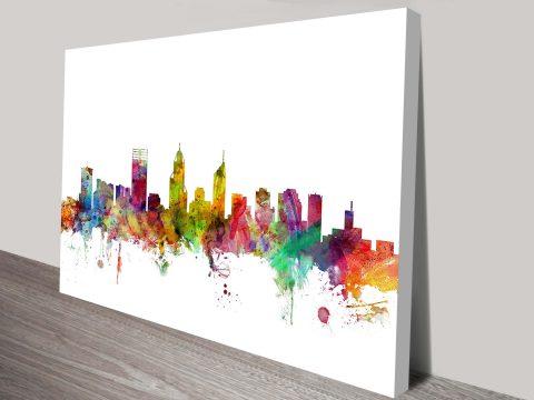 Watercolour Perth Skyline Art Print by Michael Tompsett