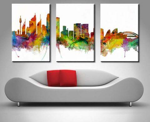 Buy Sydney Skyline Triptych Wall Art